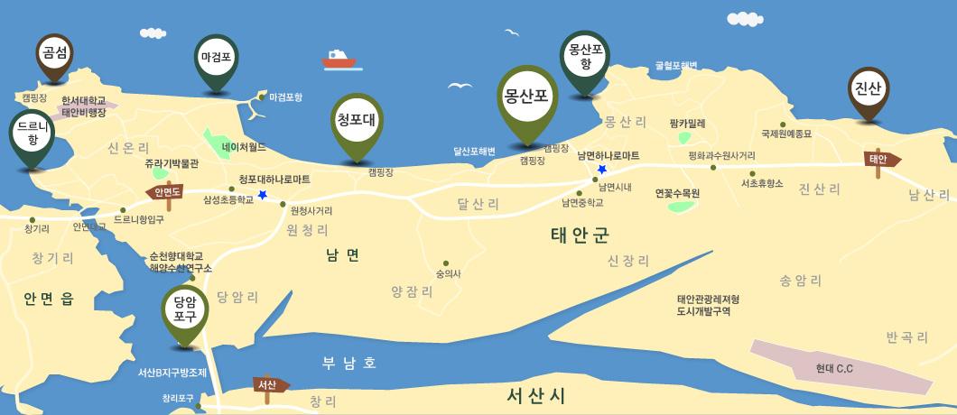 몽산포해수욕장 인근 지도